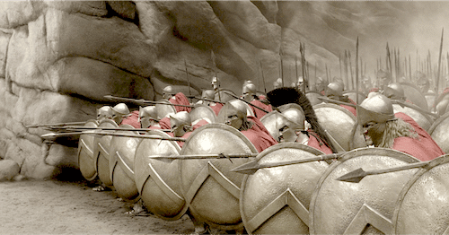 Sporting scrum, similar in concept to the ancient Spartan Shield-locking phalanx